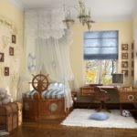 Деревянная кровать в виде парусника