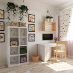 Открытый стеллаж с коробками в детской комнате