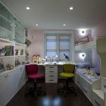 Точечные светильники на белом потолке
