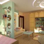 Двухуровневый потолок в детской комнате