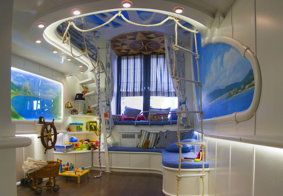 Дизайн небольшой детской комнаты в морском стиле