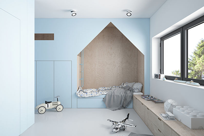 Дизайн детской для мальчика в стиле минимализма