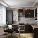Двухуровневый потолок в интерьере кухни