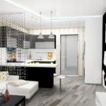 Дизайн рабочей зоны кухни гостиной