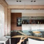 Стеклянный стол в интерьере кухни