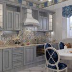 Кухня линейно планировки в стиле прованс