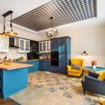 Синяя мебель в интерьере кухни