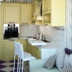 Угловой гарнитур в небольшой кухне