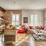 Красный кирпич в интерьере кухни