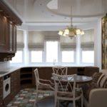 Римские шторы в классической кухне