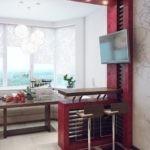 Барная стойка в эркере кухни