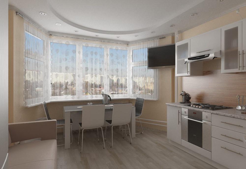 Ремонт кухни с эркером фото