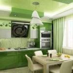 Зеленые фасады кухонного гарнитура