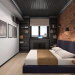 Кирпичная стена в дизайне спальной комнаты