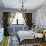 Темные шторы в интерьере классической спальни
