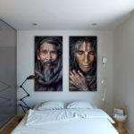 Декор портретами стены спальни