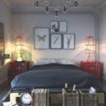 Люстра из проволоки на потолке спального помещения