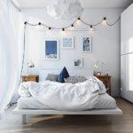 Гирлянда в освещении современной спальни