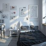 Небольшая коллекция картина на стен спальни молодого человека