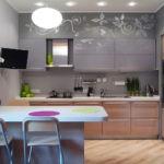 Барная стойка в серой кухне
