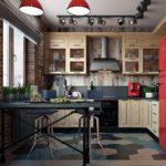 Красный холодильник на кухне в стиле лофт