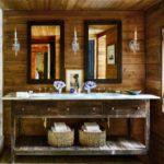 Деревянная тумба в интерьере ванной