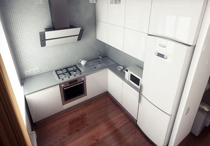 Белые фасады кухонного гарнитура с глянцевой поверхностью