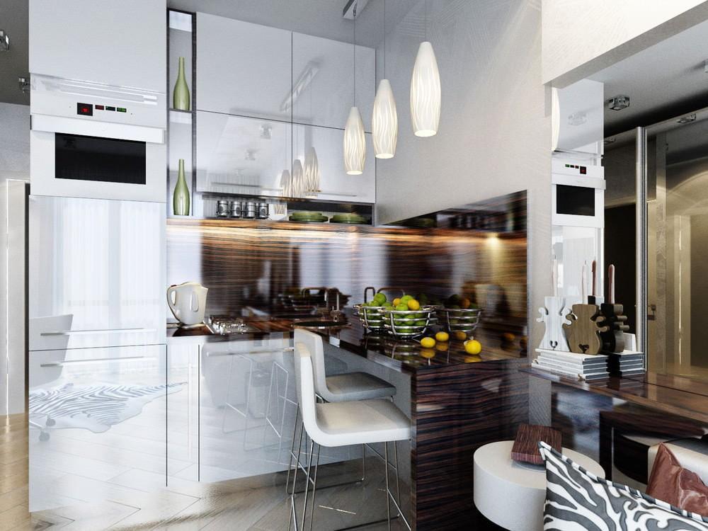 Кухонная зона в маленькой квартире