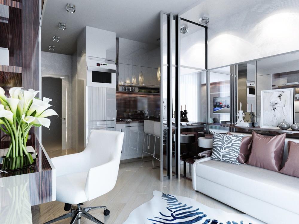 Раздвижная стеклянная перегородка в гостинке стиля минимализма