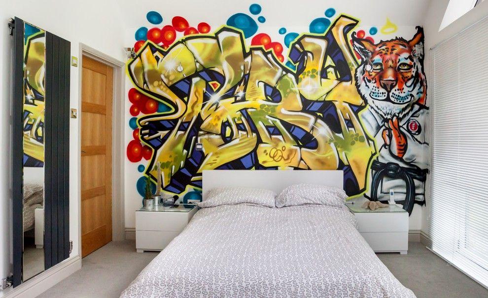 Граффити в интерьере комнаты подростка
