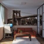 Фотообои на стене гостиной в современной квартире