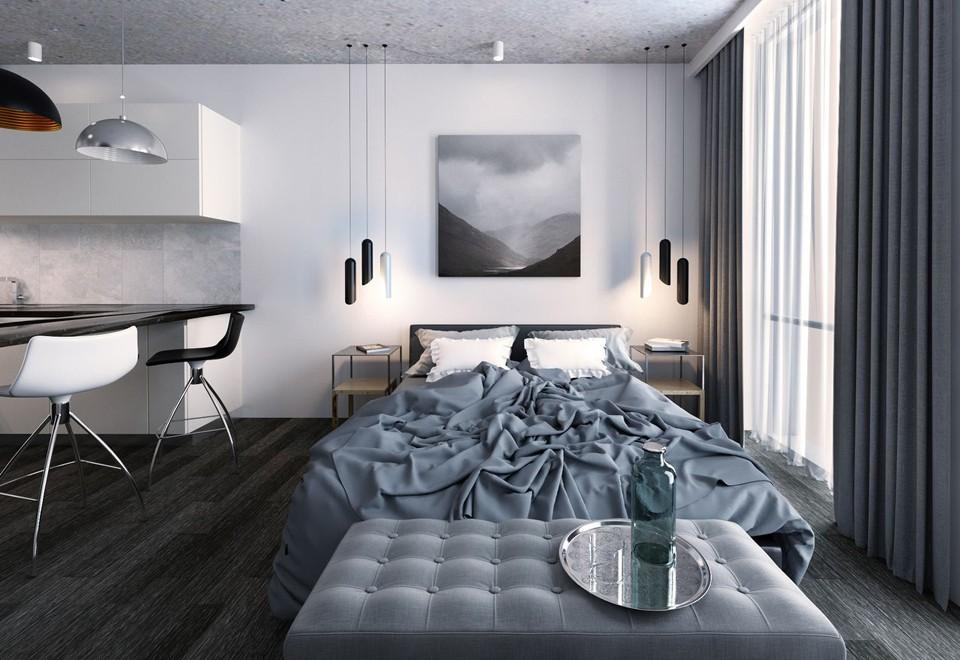 Оформление картиной стены над изголовьем кровати