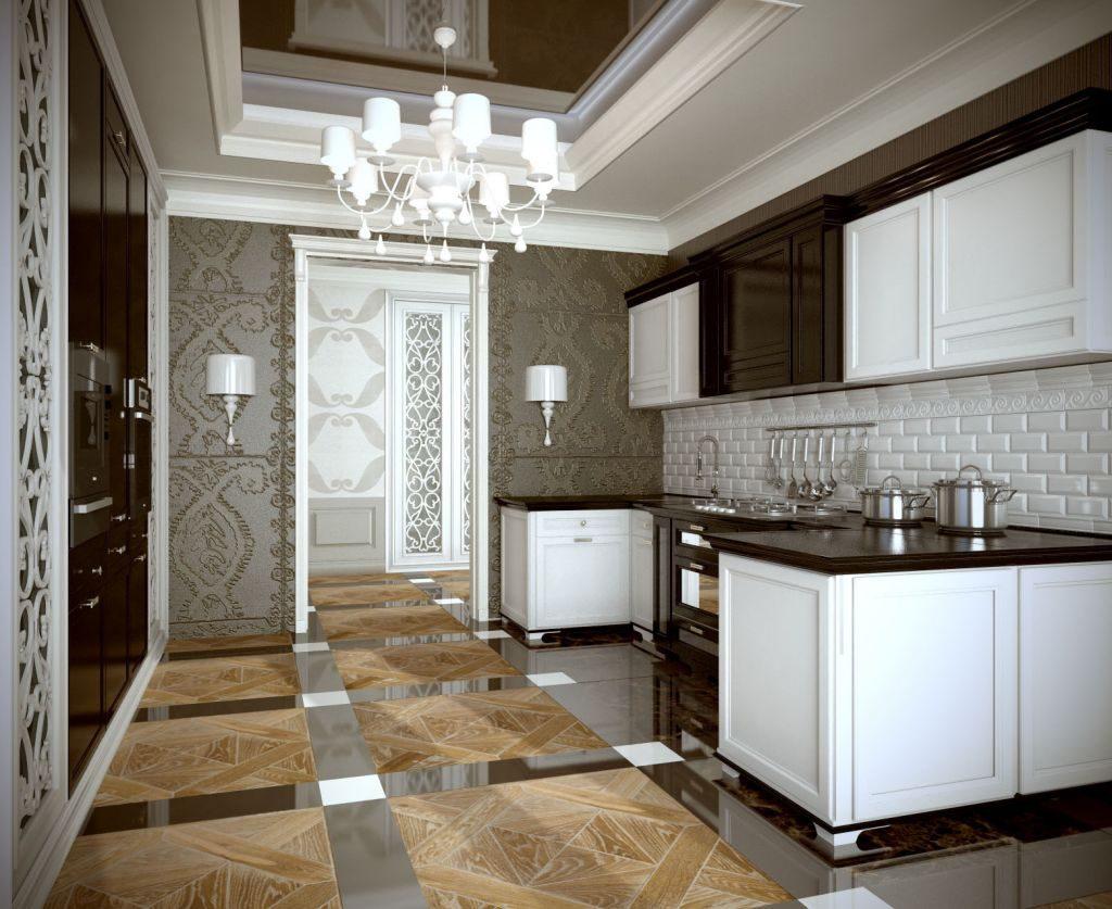 Дизайн кухни в стиле арт деко с кирпичным фартуком