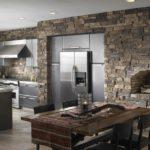 Серый кирпич на кухне в стиле ретро