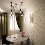 оригинальные светильники на потолке кухни