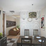 дизайн небольшой кухни с кирпичной стеной