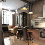 Дизайн кухни с кожаным диваном