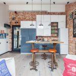 декорирование кухни с кирпичной стеной