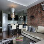 Дизайн кухни гостиной с угловым диваном