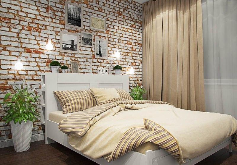 Бежевый текстиль в спальне лофт стиля