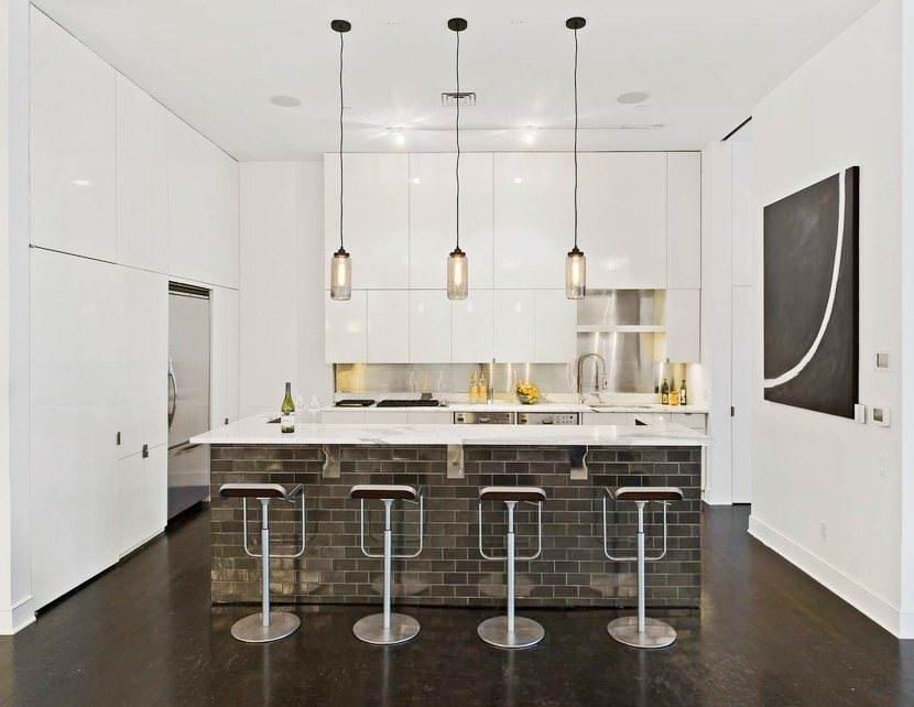 кирпичная барная стойка на кухне в стиле минимализма
