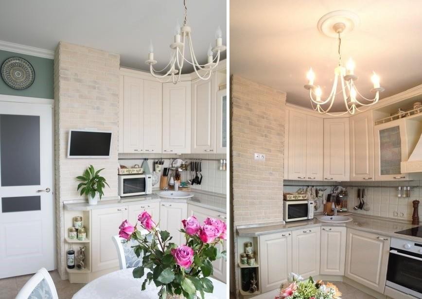 Угловой гарнитур в кухне панельного дома серии П 44