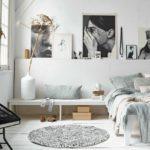 Черно-белые фото на стене комнаты подростка