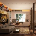Деревянные стойки в мансардной комнате