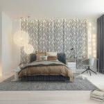 Кровать на сером ковре в светлой комнате
