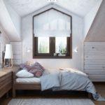 Интерьер детской спальни в мансарде частного дома