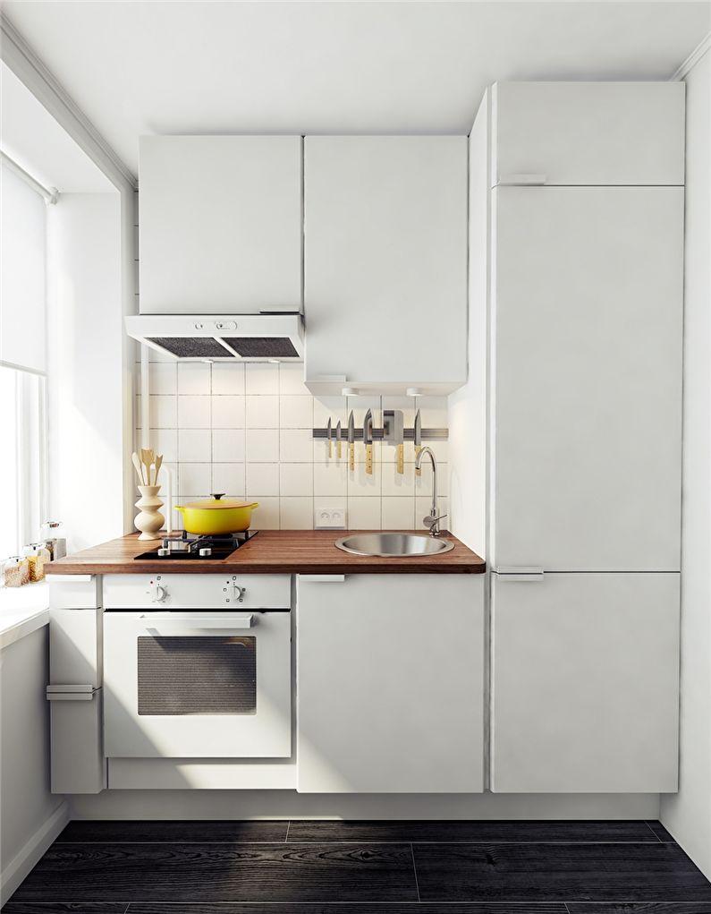 Белая кухня с компактной плитой на две конфорки