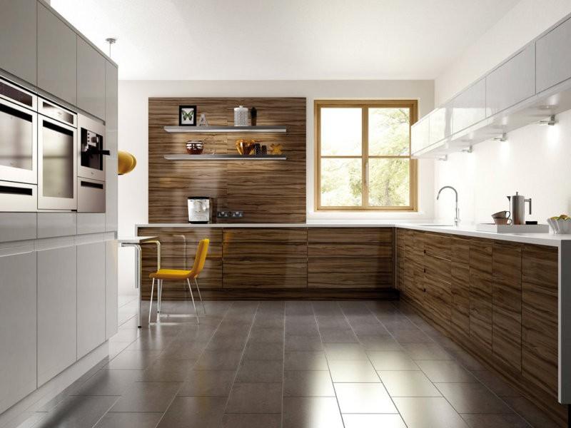 Коричневые фасады кухни хай тек