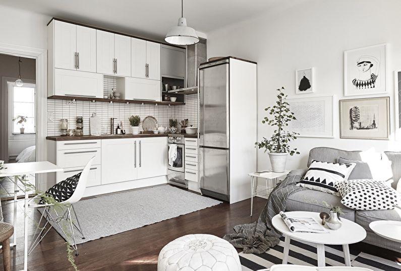 Кухня-гостиная с белым гарнитуром