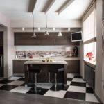 Линейная кухня в современном стиле